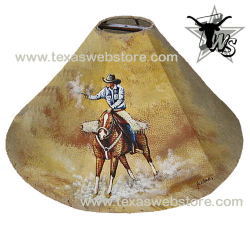 Cowboy shooting hand painted leather lamp shade