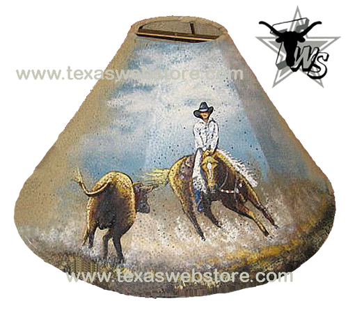 Cutting horse hand painted leather lamp shade