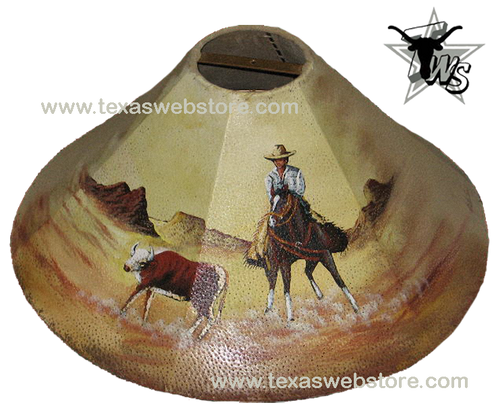 Cutting Horse leather lamp shade