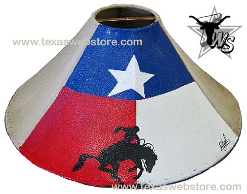 Texas Bronc Rider Hand Painted Leather Lamp Shade