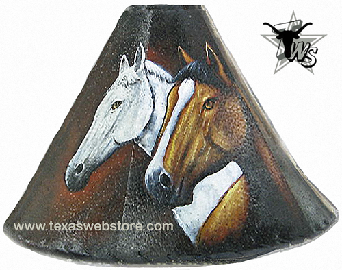 Hand painted leather lamp shade with 2 horses