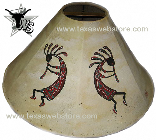 Kokopellis hand painted Native American leather lamp shade