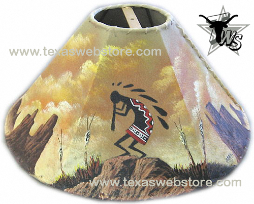 Mountain Kokopelli hand painted Native American leather lamp shade