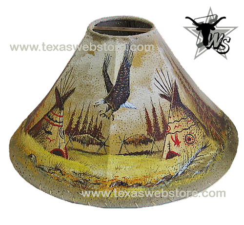 Lone Eagle hand painted Native American leather lamp shade