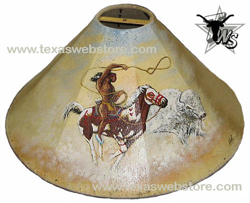 White Buffalo Hunter hand painted Native American leather lamp shade