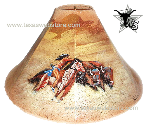 Buffalo Hunt hand painted Native American leather lamp shade