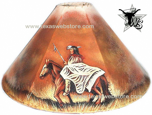 Indian Warrior hand painted Native American leather lamp shade