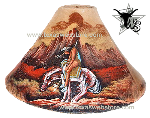 End of the Trail hand painted Native American leather lamp shade