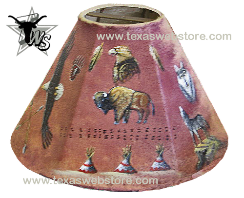 Trail of Life hand painted Native American leather lamp shade
