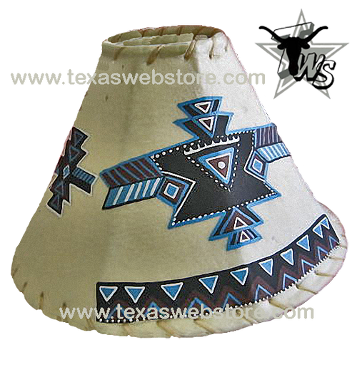 Tribal hand painted Native American leather lamp shade