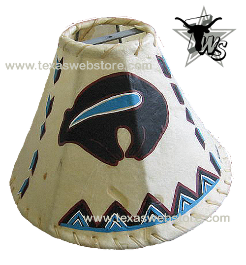 Tribal Bear hand painted Native American leather lamp shade
