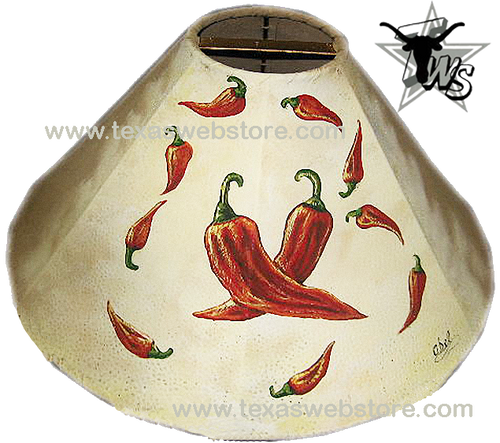 Hot Chili Peppers hand painted Native American leather lamp shade