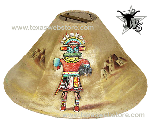 Kachina Spirit hand painted Native American leather lamp shade