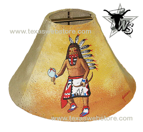Kachina hand painted Native American leather lamp shade