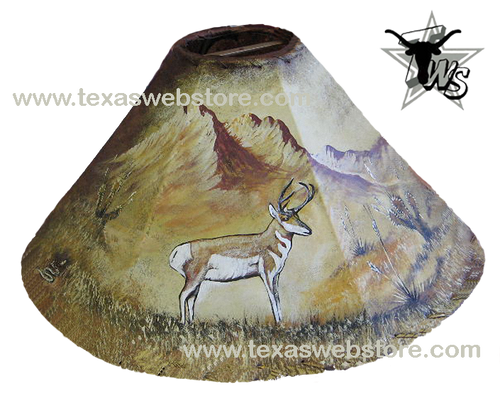 Antelope hand painted leather lamp shade