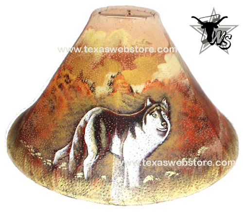 Lone Wolf hand painted leather lamp shade