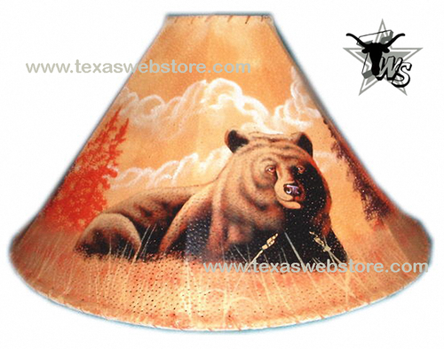 Bear hand painted leather lamp shade