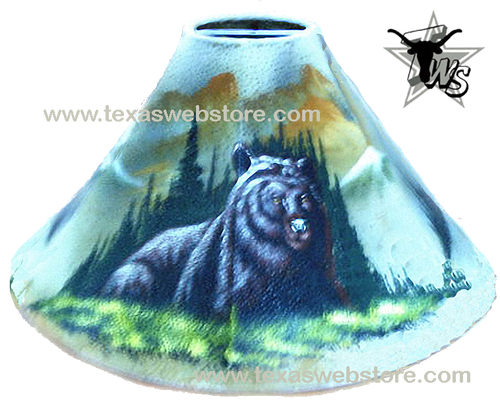 Black Bear hand painted leather lamp shade