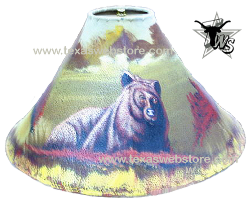 Brown Bear hand painted leather lamp shade