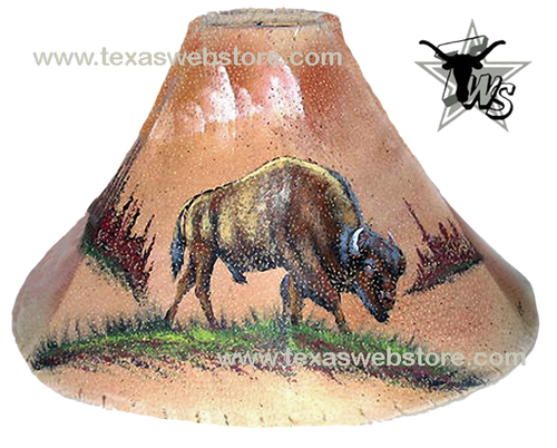 Buffalo hand painted leather lamp shade