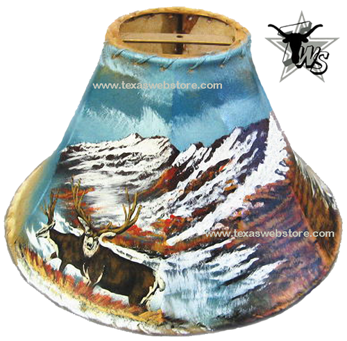 Mule deer hand painted leather lamp shade