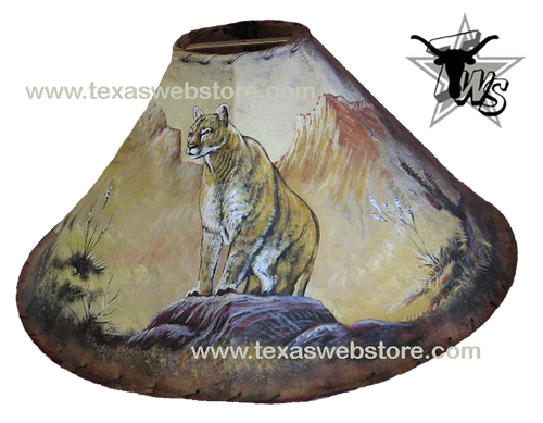 Cougar hand painted leather lamp shade