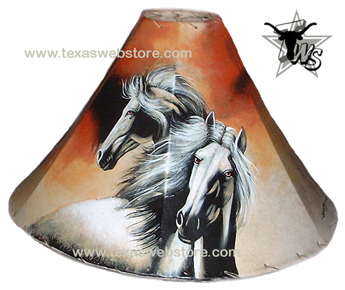 White Stallions hand painted leather lamp shade