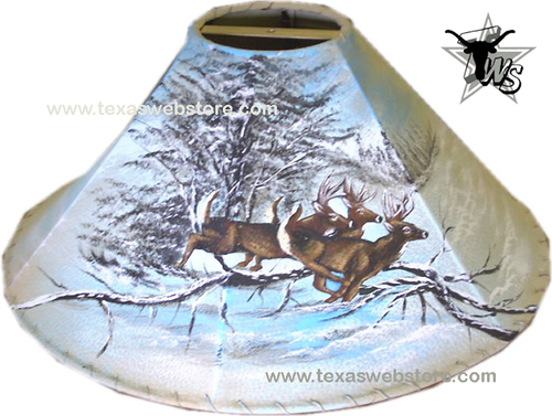 Whitetail Deer in The Snow hand painted leather lamp shade