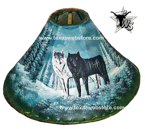 Wolf Friends hand painted leather lamp shade