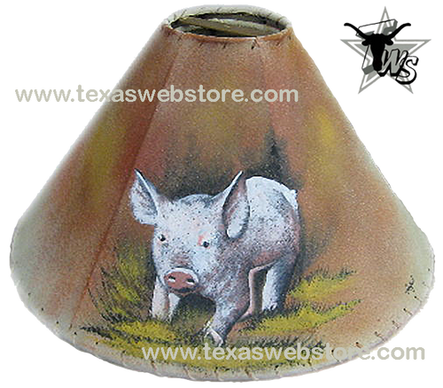 Pig hand painted leather lamp shade