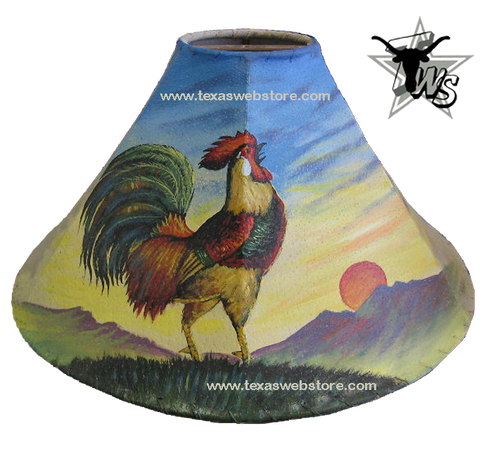 Rooster hand painted leather lamp shade