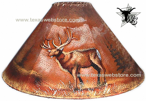 Deer hand painted leather lamp shade