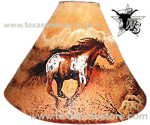 Running Horse hand painted leather lamp shade