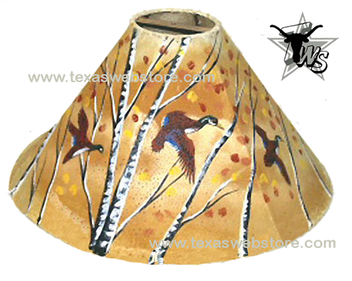Ducks hand painted leather lamp shade