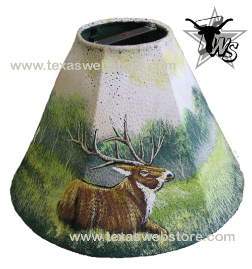 Elk hand painted leather lamp shade