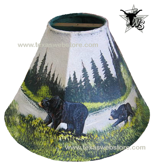 2 Bears hand painted leather lamp shade