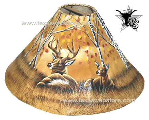 2 Deer hand painted leather lamp shade