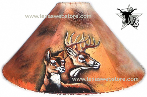 2 Deers version 2 hand painted leather lamp shade