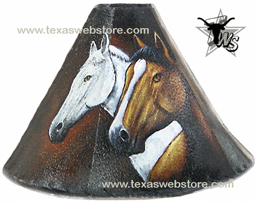 2 Horse Heads hand painted leather lamp shade