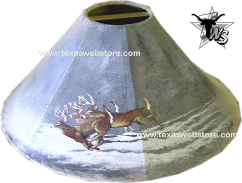 Whitetail Deer in Snow version 2 hand painted leather lamp shade