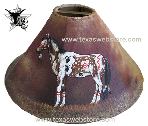 painted horse leather lamp shade