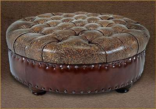 Elegant Handcrafted genuine Full Grain Tufted Leather Round Ottoman
