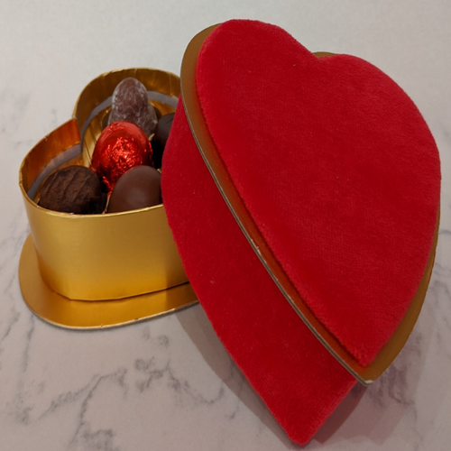 Valentines Heart Box with 6 Truffles