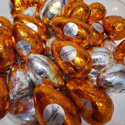 Teuscher Solid Dark Chocolate Egg in Foil Wrap