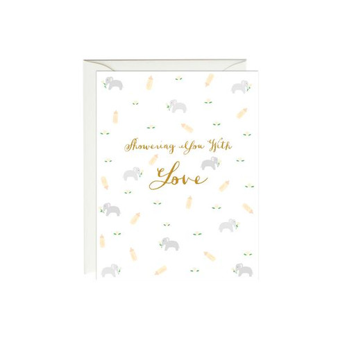 Elephant Shower Card (Gold Foil)
