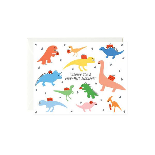 Birthday Card Colorful Dinos