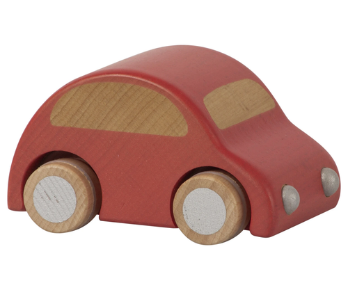 Pullback Wooden Car Red