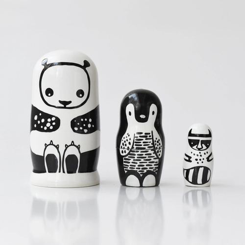 Nesting Dolls, Set of 3 - Black & White
