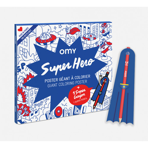 Giant Coloring Poster Folded SUPER HERO + PENCIL