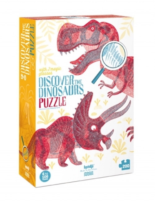 Discover Puzzle 200pcs Dinosaururs Magic Glasses